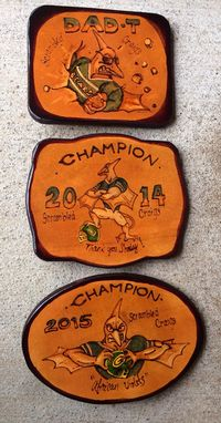 Custom Made Fantasy Football Leather Belt Buckles