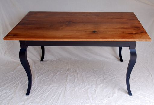 Custom Made Mesquite Dining Table With Ebonized Cabriole Legs