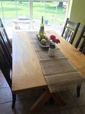 Custom Made Three Board Cypress Table With Bread Board Ends