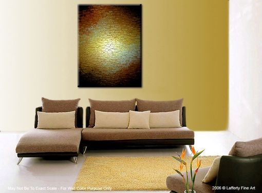 Custom Made Huge Thick Textured Original Knife Painting-Gold Metallic Abstract Bronze Modern Impasto Art, 48x36