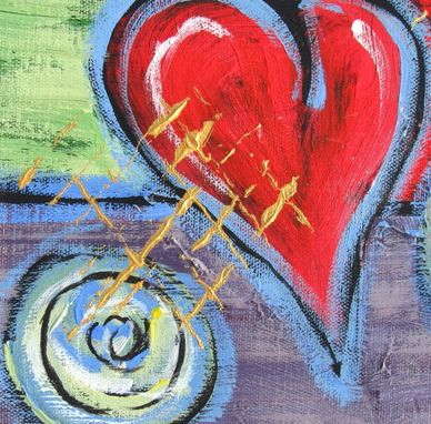 Custom Made Valentine Gift Idea Acrylic Abstract Heart Painting Original On Canvas