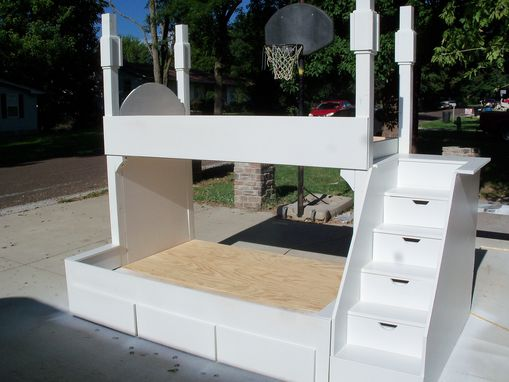 Custom Made Queen And Twin Quad Bunk Bed With Step And Under Storage