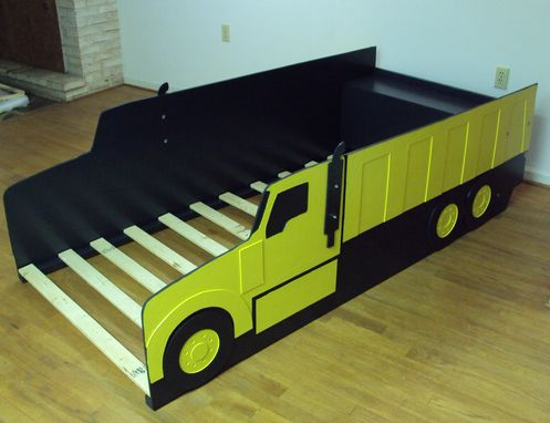 Custom Made Dump Truck Twin Kids Bed Frame - Handcrafted - Truck Themed Children's Bedroom Furniture