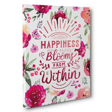 Custom Made Happiness Blooms From Within Canvas Wall Art