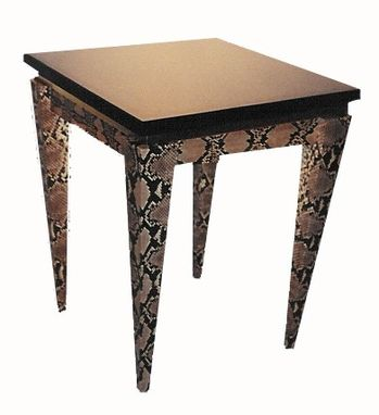 Custom Made Natural Python End Table W/ Granite Top
