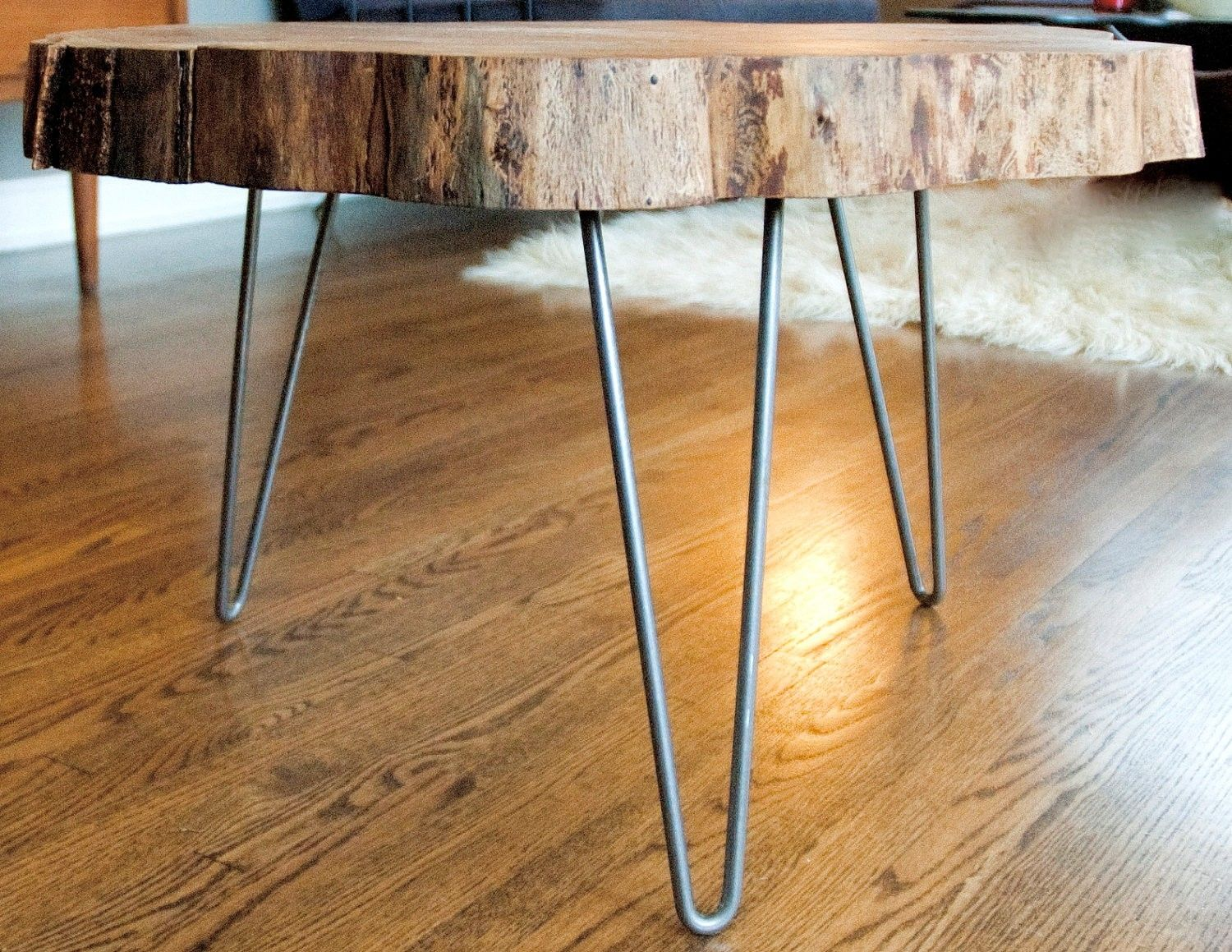 208e8bb809b04 Custom Natural Live Edge Round Slab Side Table   Coffee Table With Steel  Legs by Norsk Valley Workshop