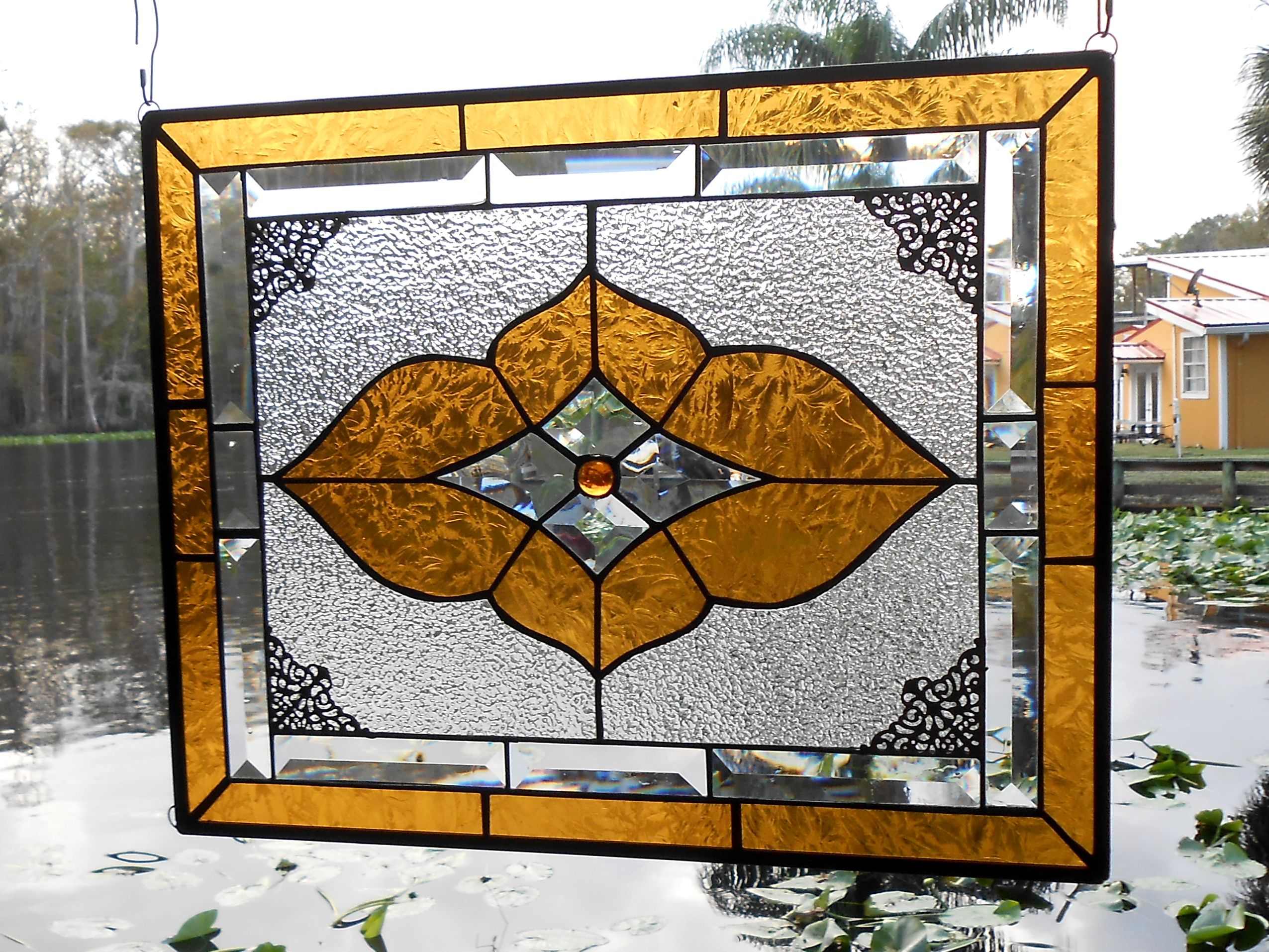 Buy a Hand Made Vintage Look Stained Glass Window Panel, Neutral ...