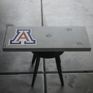 Custom Made Concrete And Wood Benches, University Of Arizona Logo