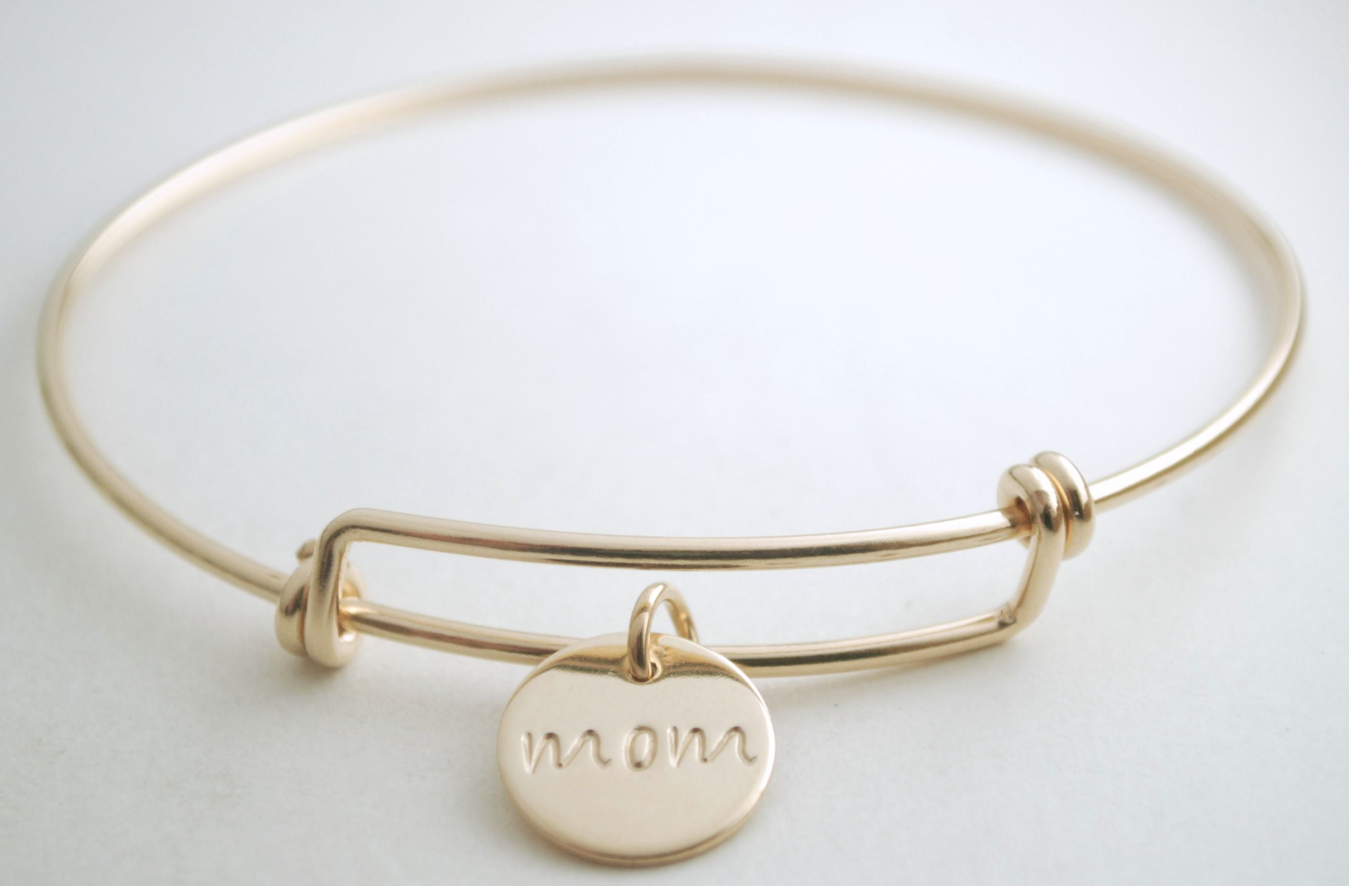 Custom Made Gold Filled Bracelet For Mom Hand Stamped With Name Charm