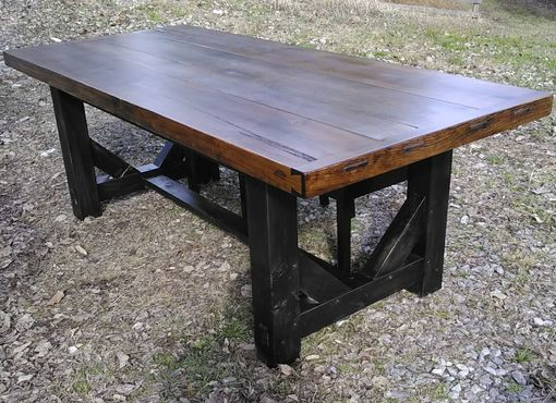 Custom Made Handcrafted Farm Table With Post And Beam Trestle Ends And Heart Pine