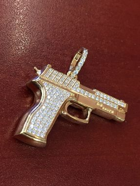 Custom Made 14k Yellow Gold Diamond Gun Pendant Charm 0.61cts Round Brilliant Cut Sig Sauer