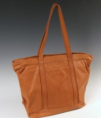 Custom Made Light Brown Leather Tote Bag