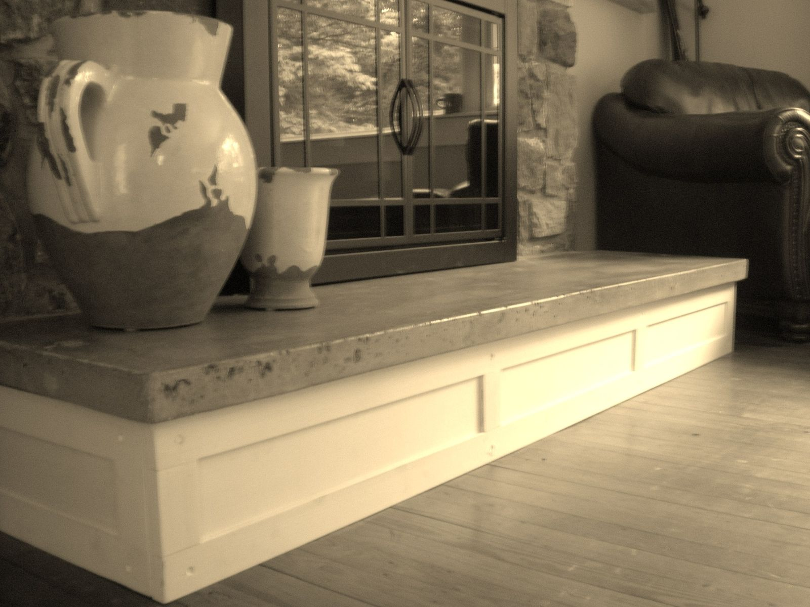 Handmade Concrete Hearth And Custom Mantel by Northeast Furniture ...