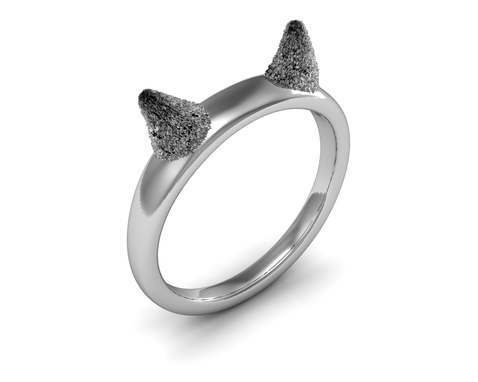 Custom Made Kitty Cat Ears Ring In Sterling Silver