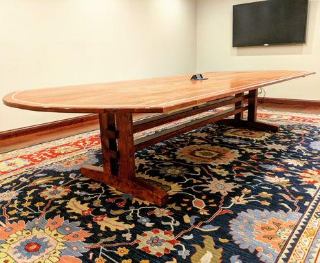 Custom Made Solid Cherry Trestle Style Comference Table With Maple Inlay