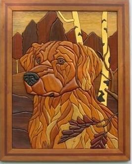 Custom Made Framed Golden Retriever Intarsia