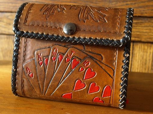 Custom Made Leather Hand Tooled Playing Cards Case