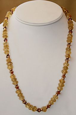 Custom Made Spectacular Rondelles Of Faceted Citrine Surrounded By Gold And Topaz Crystals From Swarovski