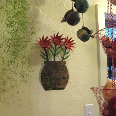 Custom Made Handmade Upcycled Metal Flowerpot With Red Flowers Wall Art Sculpture