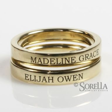 Custom Made Engraved 3mm Stackable Ring In 14k Gold