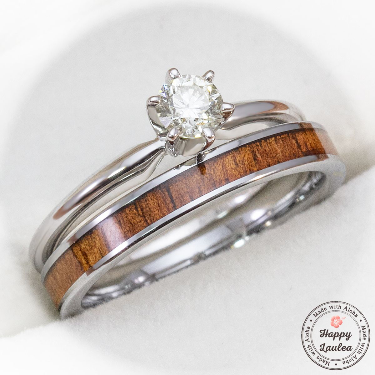 Custom Made 14k White Gold Solitaire 25ct Diamond Engagement Ring Set