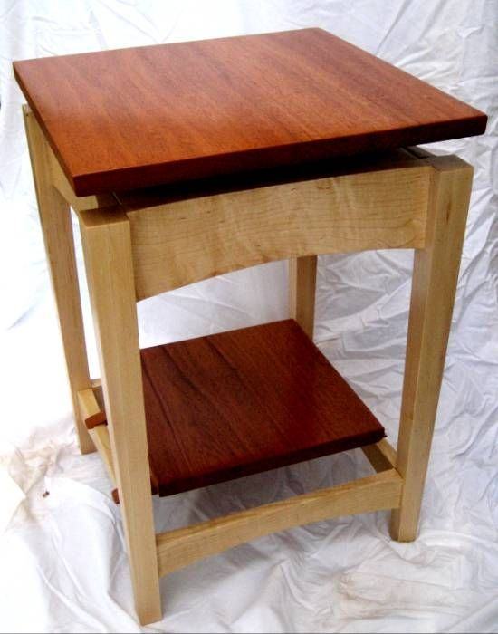 Hand Made Mahogany And Maple Floating Top Side Table By