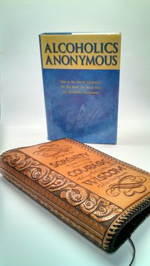 Custom Made Hand Tooled Leather Cover For Standard Sized Alcoholics Anonymous Big Book