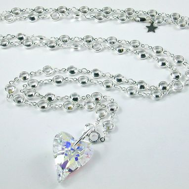 Custom Made 'Jem' - Long Necklace With Swarovski Crystals And A Wild Heart Crystal Pendant
