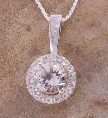 Custom Made White Topaz Halo Pendant Custom Made In Choice Of Gold Or Silver