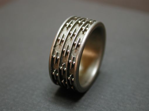 Custom Made Titanium Ring With Pattern Of Stainless Steel Balls