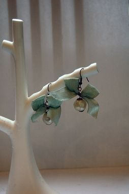 Custom Made Tiny Dangle Earrings With Blue Bows And Vintage Faux Pearls