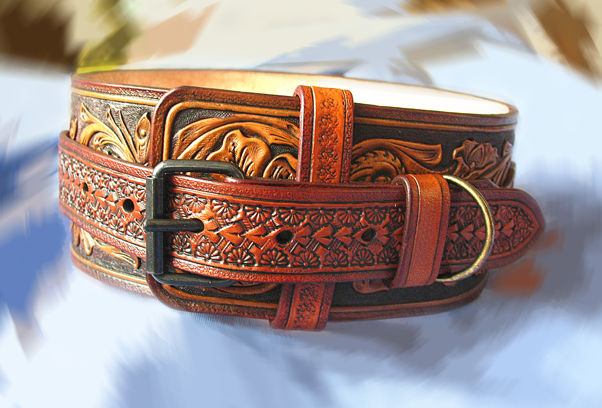 6670bca7f806 Custom Made Hand Tooled Dog Collar, Western, Sheridan Style Vegetable  Tanned Leather Ranger Type
