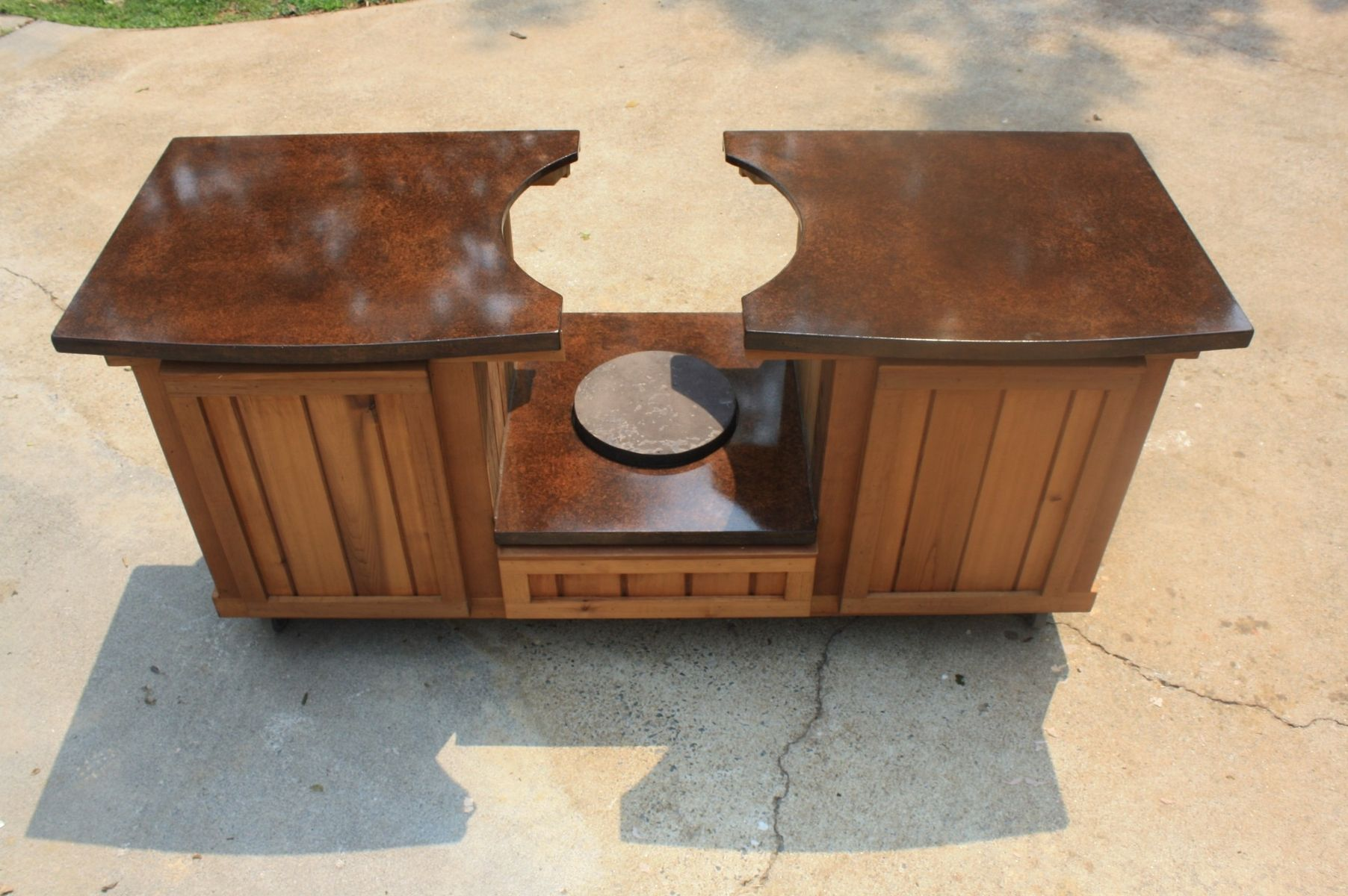 Hand made big green egg table cabinet by deck kitchen for Outdoor grill cabinet plans