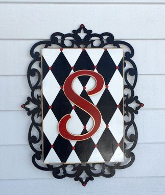 Custom Made Wood Initial Wall Plaque Sign Harlequin Scrollwork Scroll Border Any Colors Any Letters Whimsical