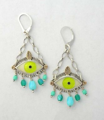 Custom Made Enamel Eye Earrings, Statement Evil Eye Earrings
