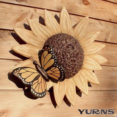 Custom Made Cremation Urn Ceramic Flower Wall Sculpture- Garden Sunflower & Butterfly Decorative Funeral Urn