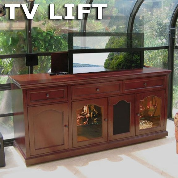 Hand Made Cherry Birch Motorized Custom Tv Lift Cabinet By