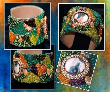 Custom Made Ocean Jasper Bead Embroidered Cuff Bracelet