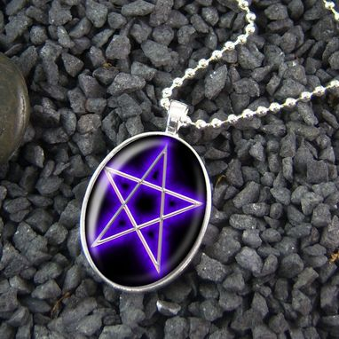 Custom Made Purple Pentacle Pentagram Sterling Silver Necklace 105-Son