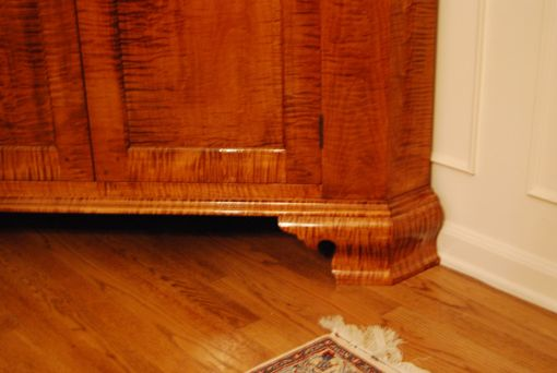Hand Made Tiger Maple Corner Cupboard By Foster S Cabinet