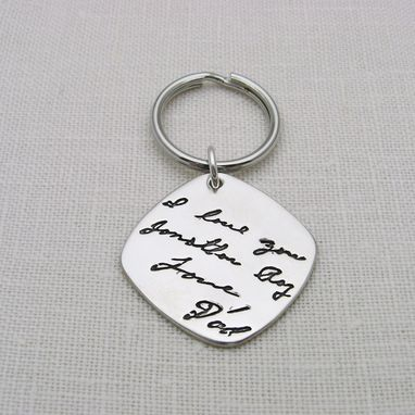 Custom Made Silver Keychain With Your Actual Handwriting