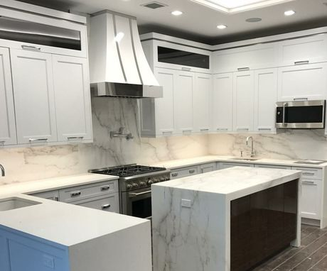 Custom Made #96 White Powder Coated Range Hood With Mirrored Crown And Straps