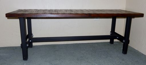 Custom Made Bolted Wrought Iron Bench Frame With Rustic Wood Top
