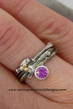 Custom Made Silver Multi Twig Ring Engagement/Wedding Ring With Pink Sapphire And 18k Yellow Gold