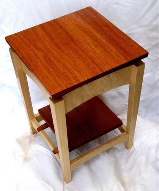 Custom Made Mahogany And Maple Floating Top Side Table