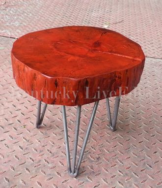 Custom Made Orange Plant Stand, Log Furniture, Log Round, Modern Table, Modern Stool, Colorful, Reclaimed Wood