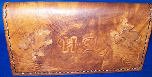 Custom Made Custom Leather Checkbook Cover With Frogs, Personalization And In Weathered Color