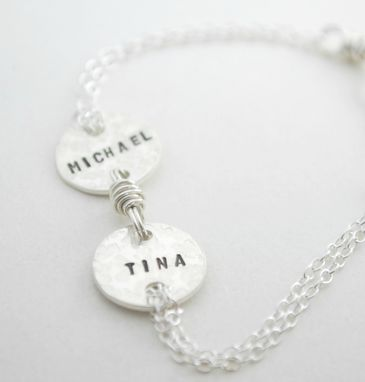 Custom Made Personalized Sterling Silver Bracelet With Two Names Hand Stamped