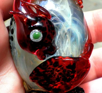 Custom Made Dragon Egg Glass Statue, Flamework Sculptural, Lampwork Handblown Dragonette Sra Fiery Red