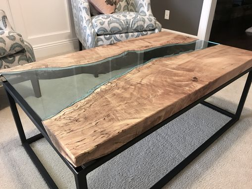 Custom Made Maple River Glass Coffee Table With Black Powder Coated Steel Base